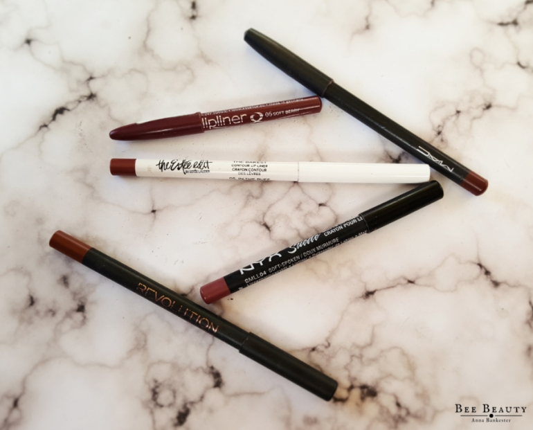 MAC Lip Liner - Auburn. Essences Lip Liner - Soft Berry. The Estee Edit Lip Liner - The Barest. Nyx Suede Matte Lip Liner - Soft-Spoken. Makeup Revolution Lip Liner - Echelon from the Retro Matte Lip Kit