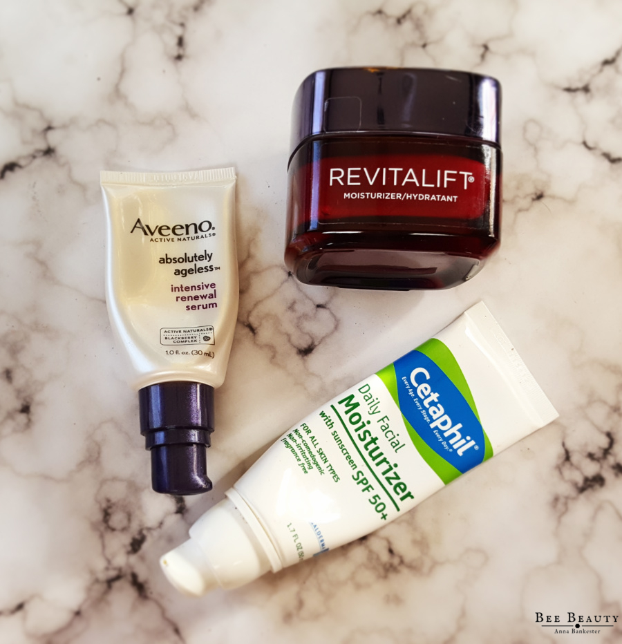 Aveeno Absolutely Ageless Intensive Renewal Serum. L'Oreal Revitalift Moisturizer. Cetaphil Daily Moisturizer with SPF 50