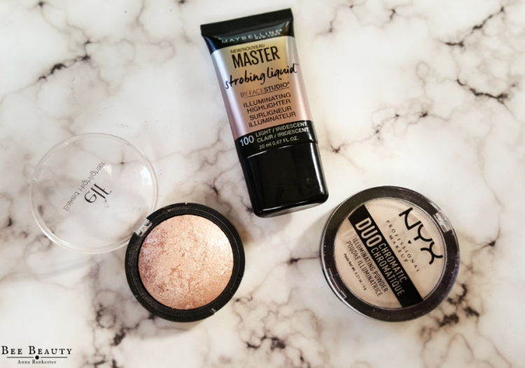 Maybelline Master Strobing Liquid - Light. E.L.F Baked Highlighter - Blushed Gems. Nyx Duo Chromatic Illuminating Powder - Snow Rose