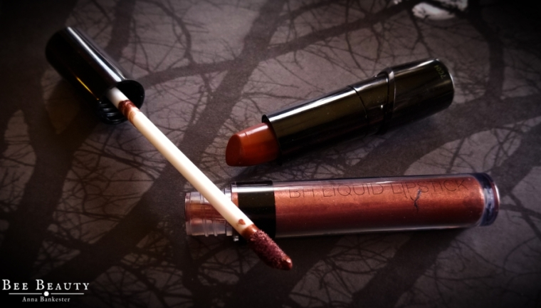 BH Cosmetics Metallic Liquid Lipstick in Amber andWetnWild Silk Finish Lipstick Mink Brown