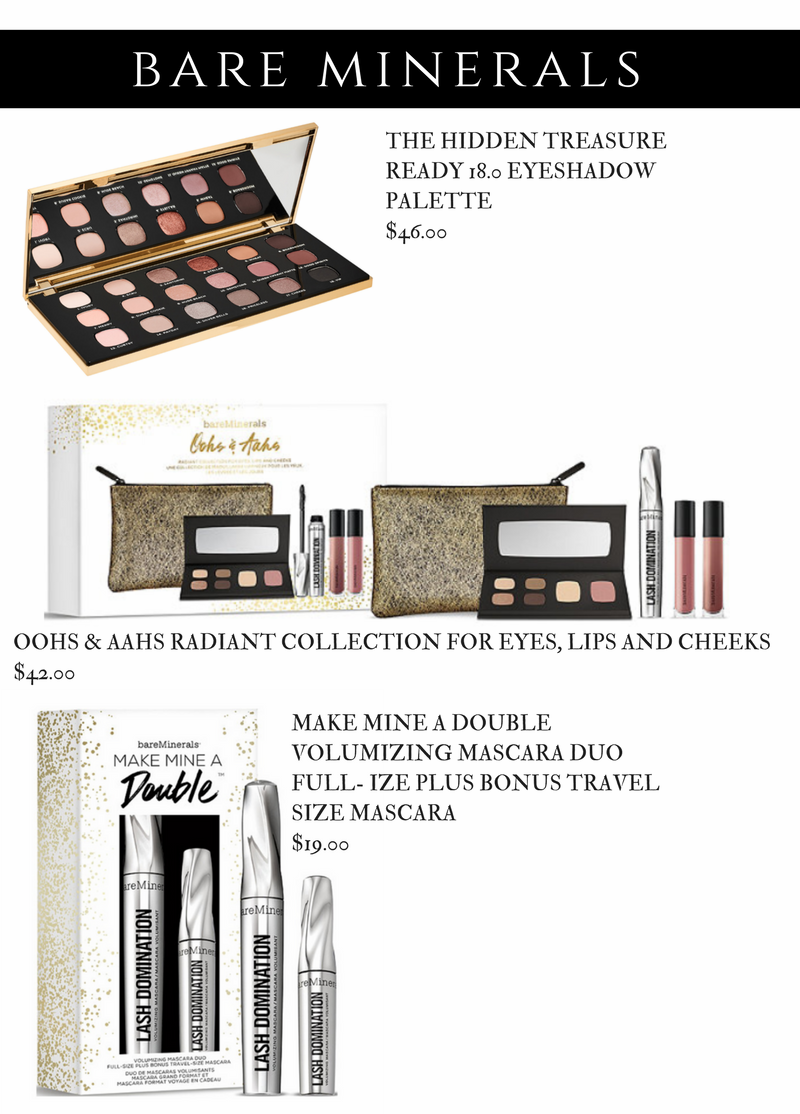 Bare Minerals Holiday 2017 - The Hidden Treasure Ready 18.0 Eyeshadow Palette. Ohhs and Ahhs. Radiant Collection for Eyes Lips and Cheeks. Make Mine a Double Volumizing Mascara Duo