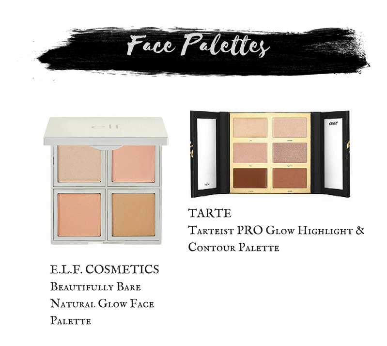 E.L.F. Cosmetics Beautifully Bare Natural Glow Face Palette.  Tarte Tarteist Pro Glow Highlight and Contour Palette.