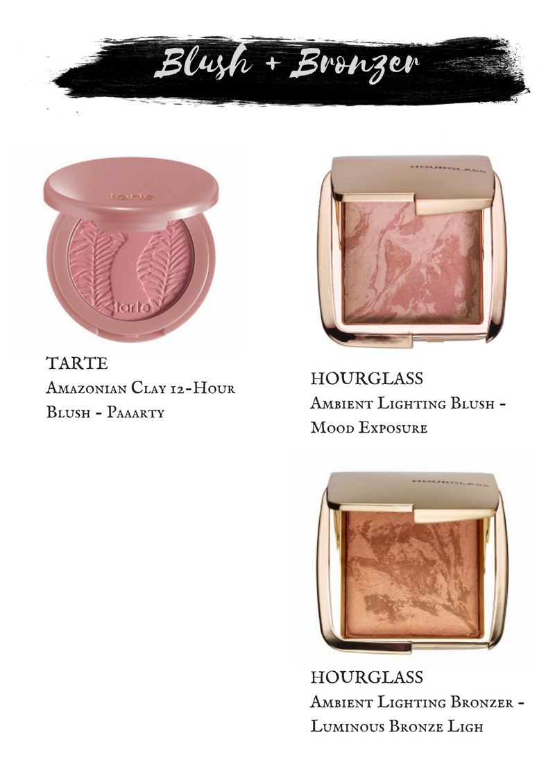 Tarte Amazonian Clay 12 Hour Blush in Paaarty.  Hourglass Ambient Lighting Blush in Mood Exposure.  Hourglass Ambient Lighting Bronzer in Luminous Bronze Light.