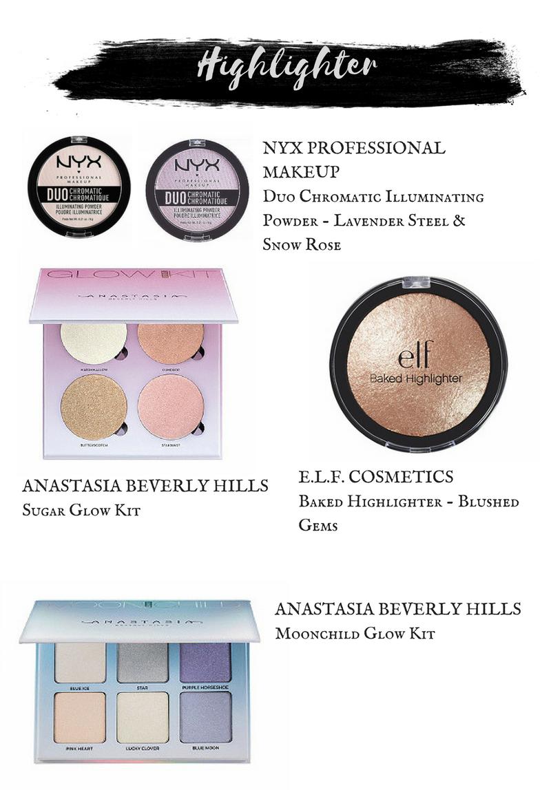 Nyx Duo Chromatic Illuminating Powders.  ELF Baked Highlighter in Blushed Gem.  Anastasia Beverly Hills Moonchild Glow Kit.  Anastasia Beverly Hills Sugar Glow Kit.