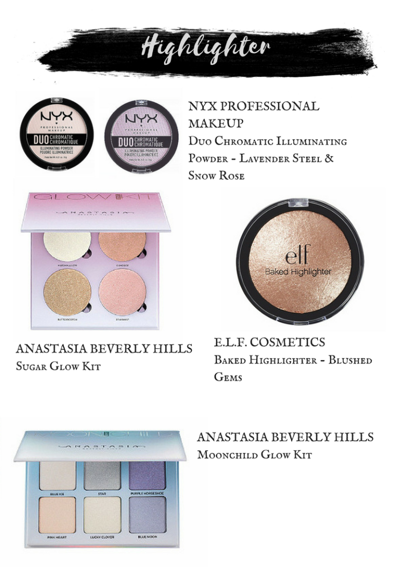 Nyx Duo Chromatic Illuminating Powders.  ELF Baked Highlighter in Blushed Gem.  Anastasia Beverly Hills Moonchild Glow Kit.  Anastasia Beverly Hills Sugar Glow Kit.