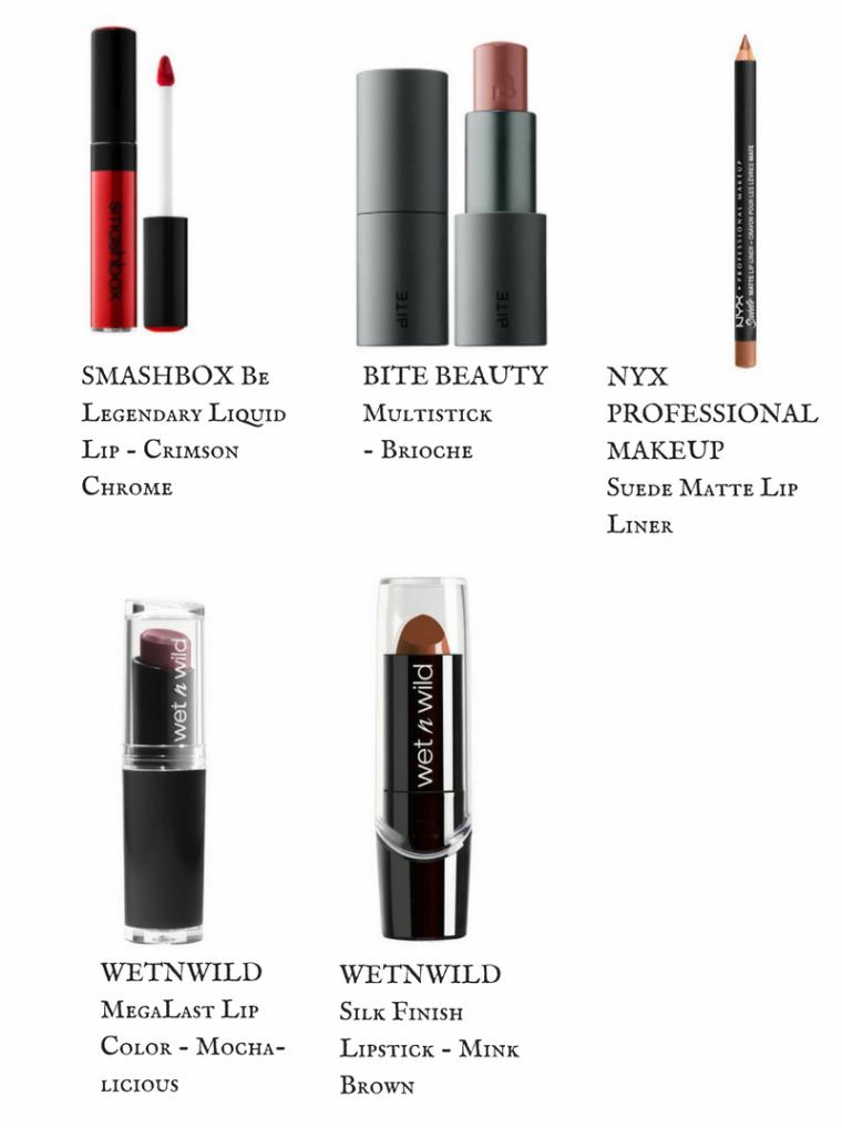The Smashbox Be Legendary Liquid Lip.  Bite Beauty Multistick.  Nyx Suede Matte Lip Liners.  Wet N Wild MegaLast Lip Color.  Wet N Wild Silk Finish Lipstick.
