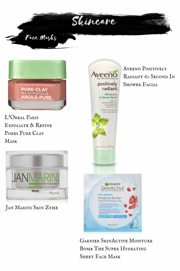Loreal Paris Exfoliate & Refine Pores Pure Clay Mask. Aveeno Positively Radiant 60 Second In-Shower Facial. Jan Marini Skin Zyme Mask. Garnier Skinactive Moisture Bomb The Super Hydrating Sheet Face Mask.