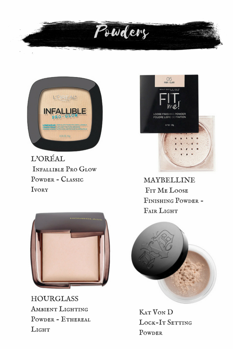 L'Oreal Infallible Pro Glow Powder. Maybelline Fit Me Loose Finishing Powder. Hourglass Ambient Lighting Powders. Kat Von D Lock-It Setting Powder.