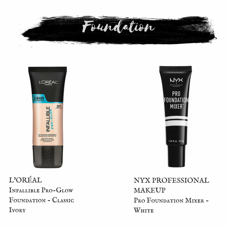 L'oreal Infallible Pro- Glow Foundation in Classic Ivory.Nyx Pro Foundation Mixer in White.