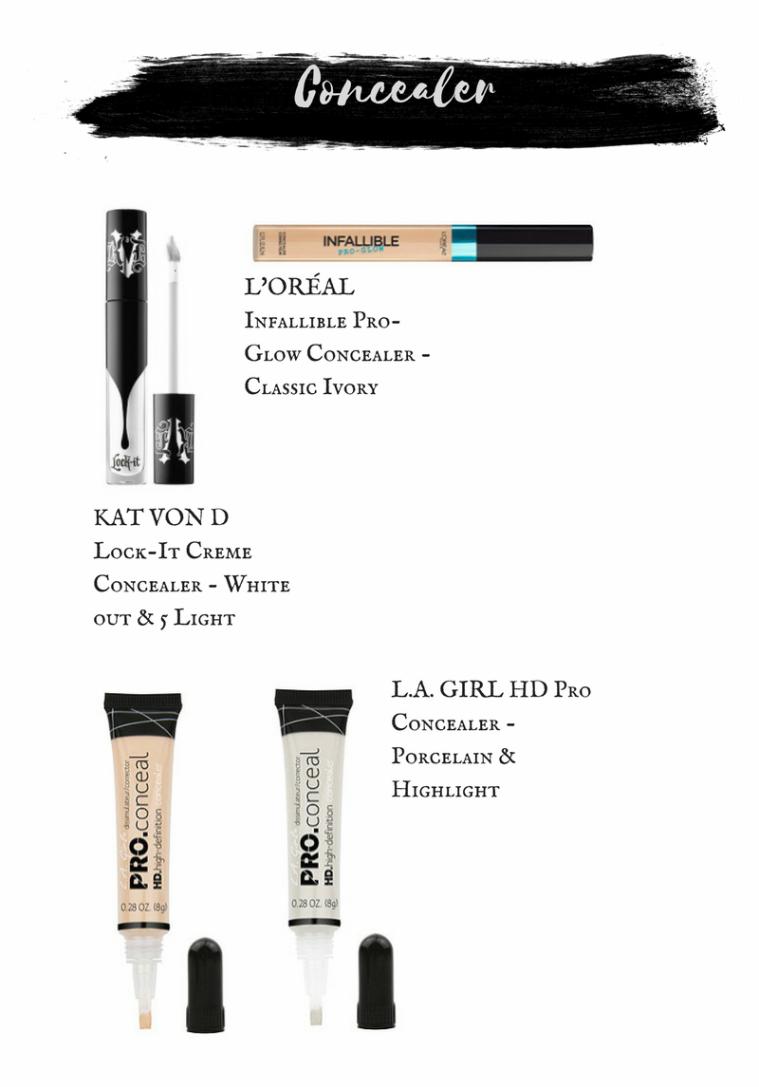 Kat Von D Lock-It Creme Concealer. Loreal Infallible Pro Glow Concealer. L.A. Girl HD Pro Concealers.