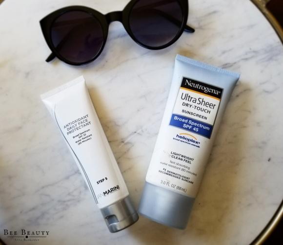 Neutrogena Ultra Sheer Dry-Touch Sunscreen. Jan Marini Antioxidant Daily Face Protectant.