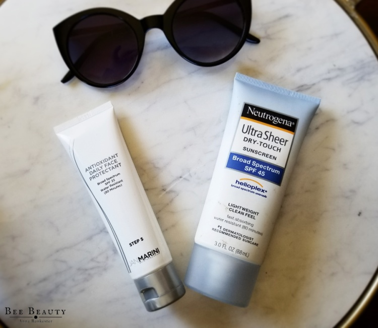 Neutrogena Ultra Sheer Dry-Touch Sunscreen.  Jan Marini Antioxidant Daily Face Protectant.