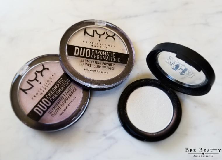 Nyx Duo Chromatic Illuminating Powder in Lavender Steel + Snow Rose. Kat Von D Beauty Metal Crush Eyeshadow - Thunderstruck