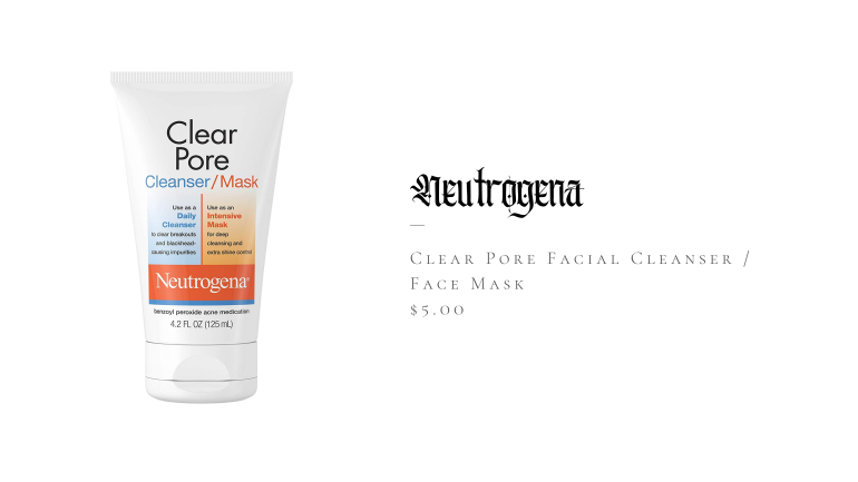 Neutrogena Clear Pore Facial Cleanser / Face Mask containing Kaolin & Bentonite Cla